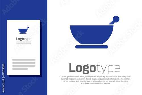 Photo Blue Mortar and pestle icon isolated on white background
