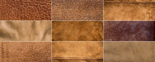 Set Of Textures Of Brown Leather - Natural Material Background