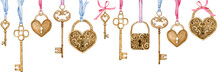 Watercolor Header With Heart-shaped Golden Locks And Keys Handing On Blue And Pink Ribbons.