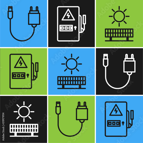 Fototapety, obrazy: Set line Charger, Solar energy panel and sun and Electrical panel icon. Vector