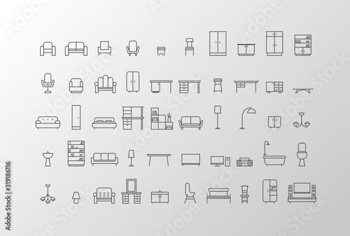 Obraz Furniture and home decor icon set in modern flat style drawing with grey lines - fototapety do salonu