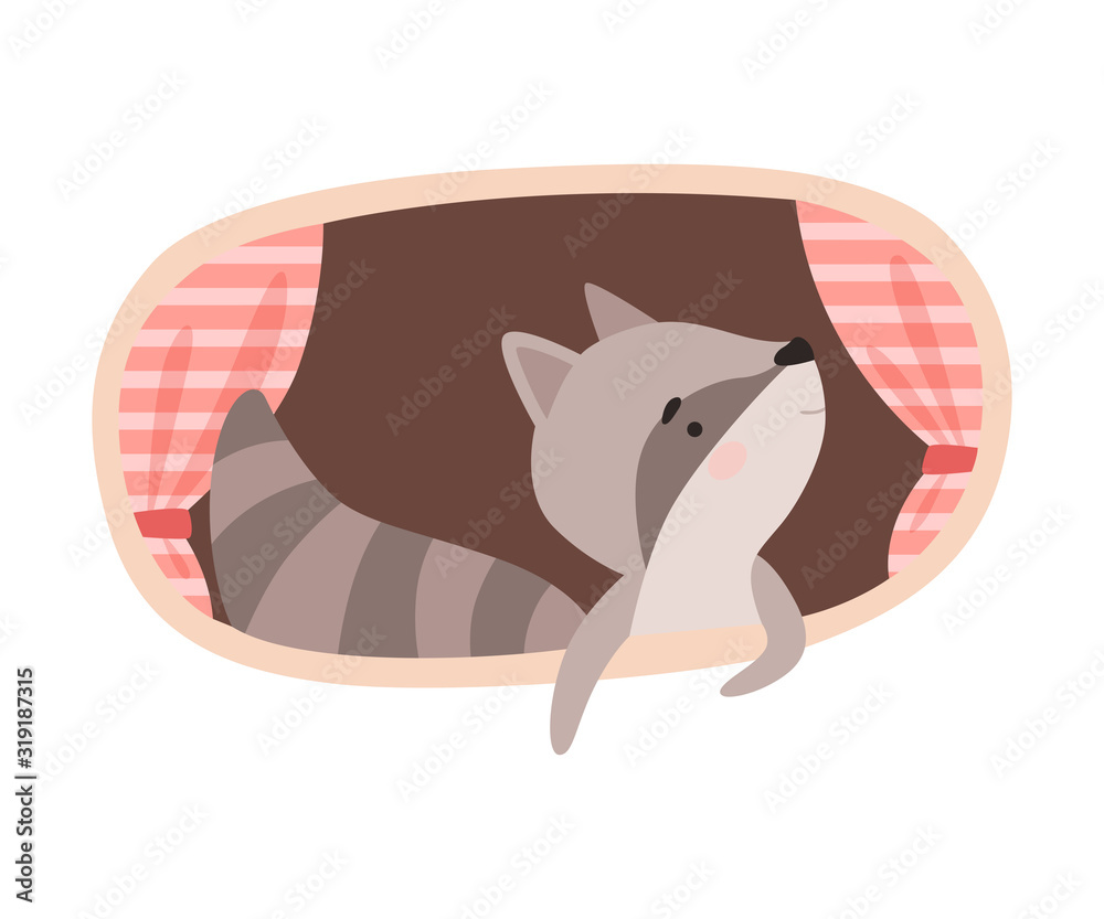Fototapeta Funny Raccoon Peeped Out From Tree Hollow Vector Illustration