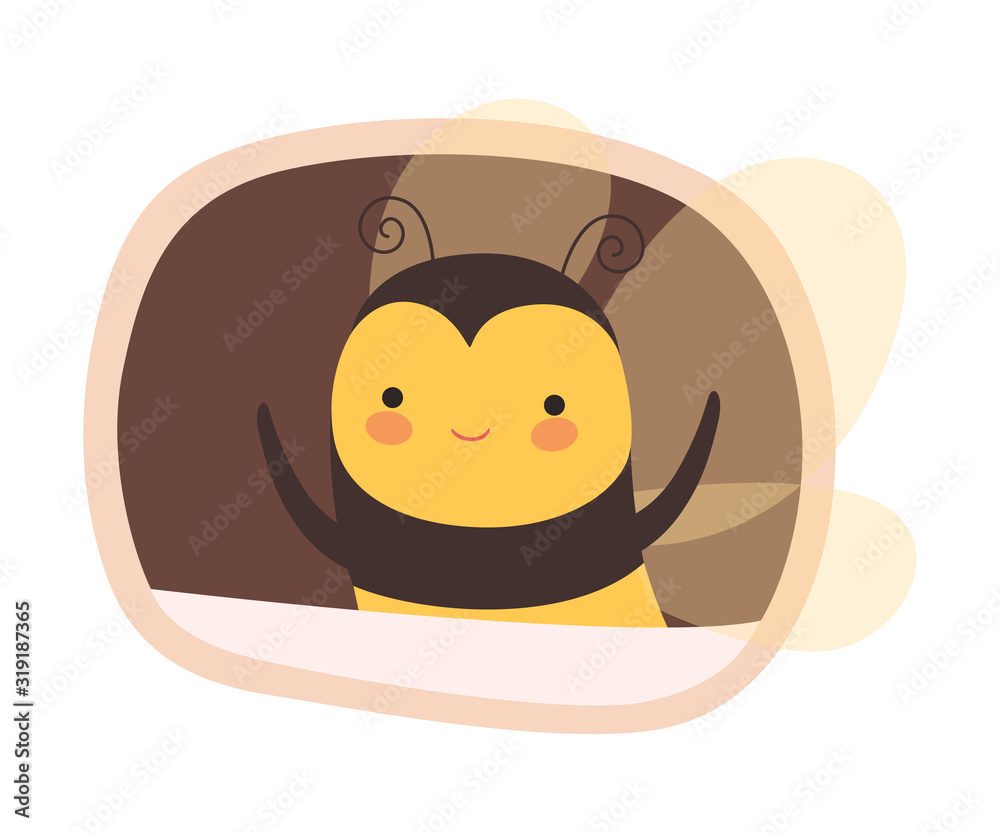 Fototapeta Funny Bee Peeped Out From Tree Hollow Vector Illustration
