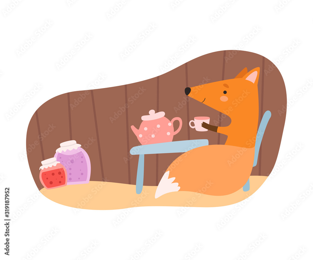 Fototapeta Fox Sitting at the Table and Drinking Tea in Its Tree Hollow Vector Illustration