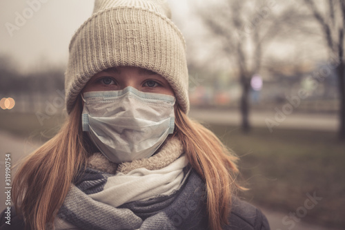 Fototapety, obrazy: Coronavirus MERS-CoV Chinese infection  Virus masked girl on the background of the city in smog, the concept of the epidemic of the virus in China coronavirus nCov
