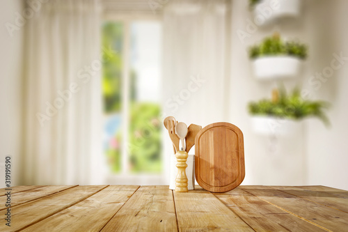Photo Table background of free space and window background of spring time