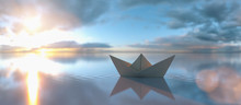 Paper Boat In A Calm Water At ...