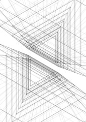 abstract buildings, architectural drawing 3d