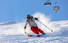 Girl On The Ski. A Skier In A ...