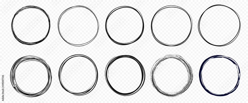 Fototapeta Hand drawn circle line sketch set isolated on transparent background. Vector circular scribble doodle round circles for  message and for note mark . Vector illustration