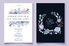 Purple Floral Wedding Invitati...