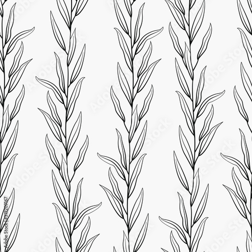 Obraz na plátne Vector seamless pattern with black vertical branches and leaves on white background; natural design for fabric, wallpaper, textile, package, web design