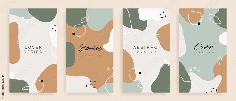 Ogólnospołeczne medialne posty i opowieści szablon, tekstury i kształty dla Organicznie projekt pokrywy, Linocut elementy, zaproszenie, przyjęcie zapraszają karcianego szablon, kreatywnie minimalna modna stylowa Wektorowa ilustracja. <span>plik: #319210327   autor: vectortwins</span>