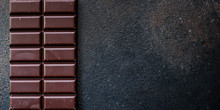 Chocolate (delicious Cocoa Dessert, Pieces Ofbackground. Top View. Copy Space Sweets) Menu Concept. Food