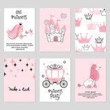 Baby shower card set. Watercolor invitation cards design for baby shower party. Little princess illustration.
