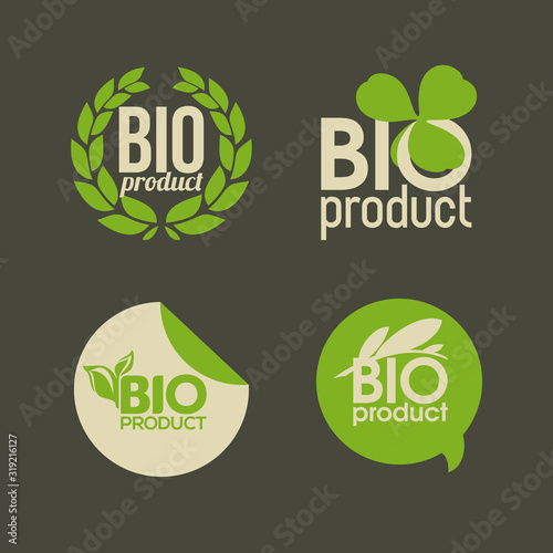 Fototapeta Bio product - cute vector labels or badges for organic product packaging obraz