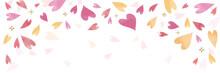 ピンクのハートの背景素材(横長 バナー ヘッダー)