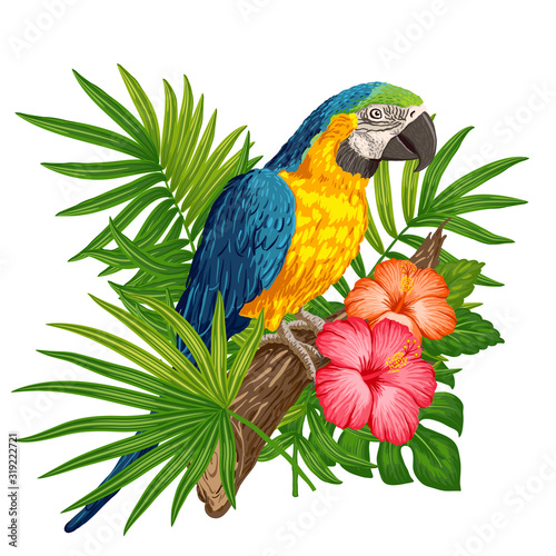 Parrot macaw with tropical plants Wallpaper Mural