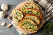 Plate With Toasted Garlic Brea...