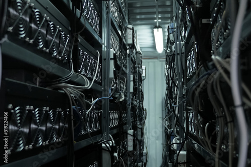 Photo mining farm, video cards and asiki mining farm.