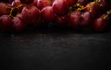Red Grapes With Drops Of Water...