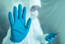 Epidemiologist Gesturing Stop ...