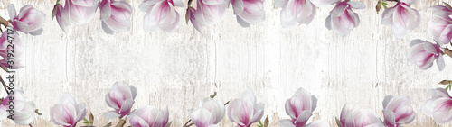 frame-made-of-beautyful-flourish-magnolia-and-soft-flares-and-bokeh-isolated-on-white-rustic-shabby-vintage-wooden-texture-background-banner-panorama