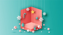 Template Box Design For Christmas Decorated With Ball, Snowflake, Gift Box, Bell, Candy Cane, Gingerbread Man And Star Hanging Down. Paper Cut And Craft Style. Vector, Illustration.