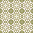 canvas print picture - Old ceramic tiles digitally generated in white and olive seamless pattern