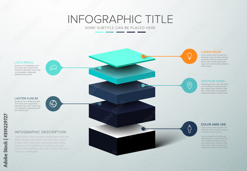 Fototapeta Vector Infographic layers template