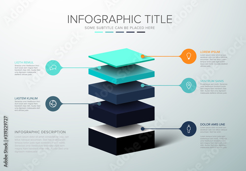 Vector Infographic layers template Canvas Print