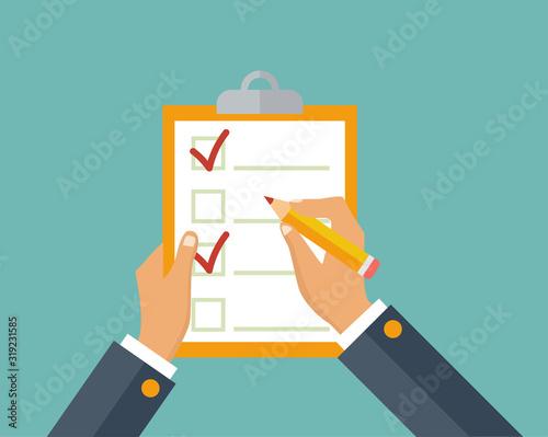 Questionnaire, survey, clipboard, task list Wallpaper Mural
