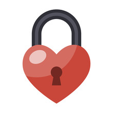 Heart Lock Isolated Flat Color...
