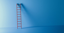 Red Ladder Leans Against A Blu...