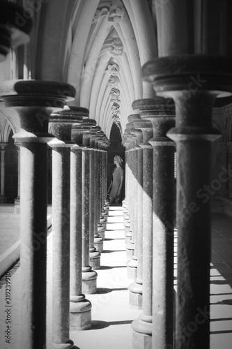 Fotografering Woman Seen Through Colonnades