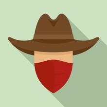 Desert Cowboy Icon. Flat Illus...