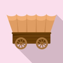Western Carriage Icon. Flat Il...
