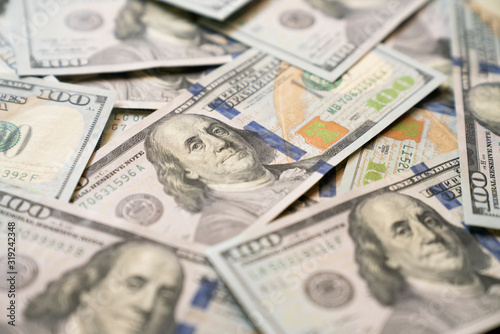 close up US one hundred dollars bills money, business and finance concept Canvas Print