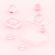 canvas print picture - 3d pink rose pastel minimal studio background. Abstract 3d geometric shape object illustration render.  Display for cosmetics and beauty fashion product...