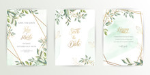 Watercolor Wedding Set. Set Of Card With Leaves And Golden Geometric Frame. Design With Forest Green Leaves, Eucalyptus, Fern. Floral Trendy Templates For Banner, Flyer, Poster, Greeting. Eps10