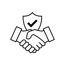 Trust Icon Vector. Handshake Icon. Partnership And Agreement Symbol. Trust For Protection
