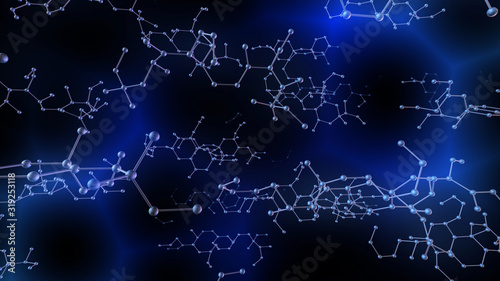 Fotografía Chemical Molecular Structure 3D illustration background