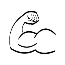 Arm With Big Muscles Like Bodybuilders Have Black And White