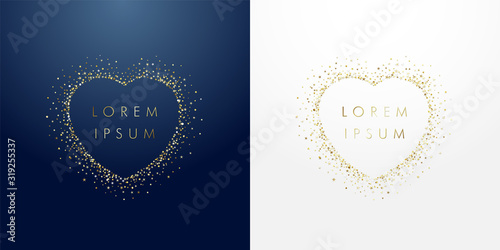 Golden sparkling ring heart with dust glitter graphic on dark blue and white background. Glorious decorative glowing shiny design. Discount badge with empty center. Love vector sign - 319255337