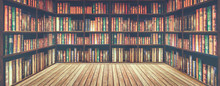 Blurred Bookshelf Many Old Boo...