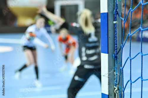 Photo Detail of posta of goal and penalty shot in the background during women handball match