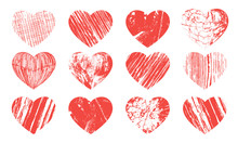 Red Grange Hearts Texture On A Whitew Background. Vector Illustration