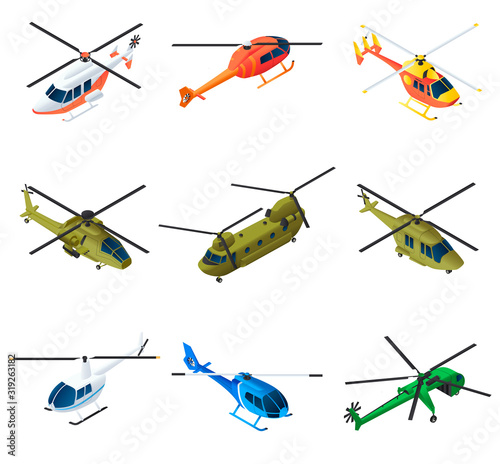Helicopter icons set Tableau sur Toile