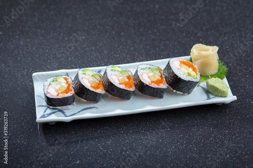 Fototapeta Futo maki roll with seaweed, Japanese food menu obraz
