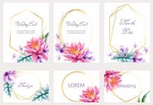 Watercolor Wedding Cards Set W...